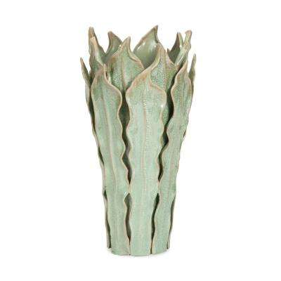 Frederick Sage and Beige Large Leaf Decorative Vase