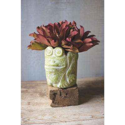 8 in. Dia Green Clay Frog Planter