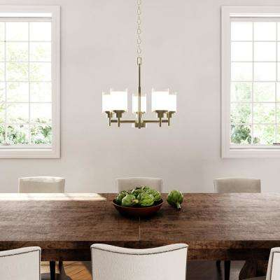 Alexa Collection 20 in. 5-Light Brushed Nickel Chandelier with White Linen Glass