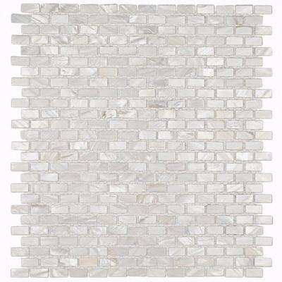 Mother of Pearl Mini Brick Pattern 11-1/4 in. x 12-1/4 in. x 2 mm Pearl Mosaic Floor and Wall Tile