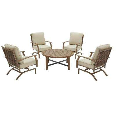 Geneva 5-Piece Woven Outdoor Patio Conversation Deep Seating Set with Oatmeal Cushions