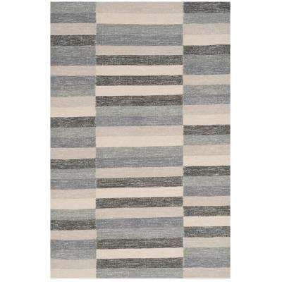 Striped Kilim Gray 8 ft. x 10 ft. Area Rug
