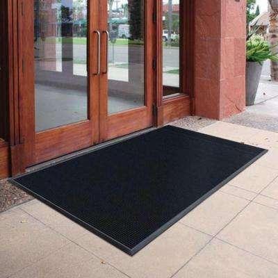 Black 23.75 in. x 31.5 in. Rubber Door Mat