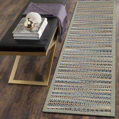 Shimmer Natural Fiber Blue 2 ft. 6 in. x 7 ft. 9 in. Plush Rectangle Runner Rug