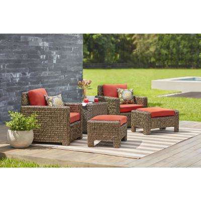 Laguna Point All-Weather Wicker Outdoor Lounge Chairs with Quarry Red Cushions (2-Pack)