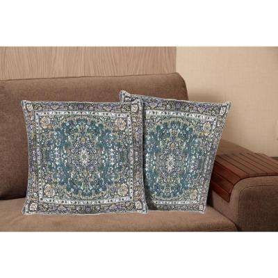 Printed Cotton 20 in. Blue Decorative Pillow