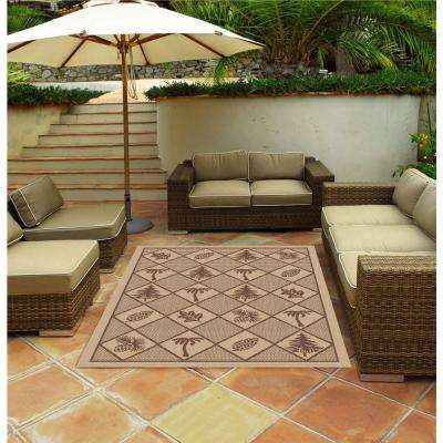 Woven Pine Brown 5 ft. x 7 ft. Indoor/Outdoor Area Rug