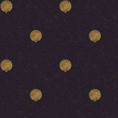 56 sq. ft. Black and Gold Medallion Shells Wallpaper