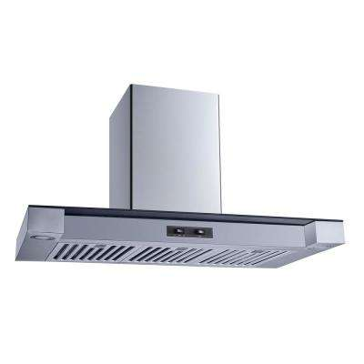 36 in. Convertible Wall Mount Range Hood in Stainless Steel and Glass with Stainless Steel Baffle Filters