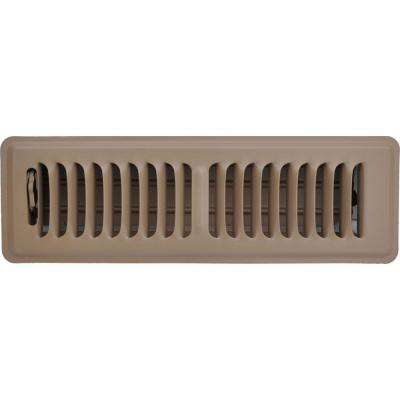2 in. x 10 in. Floor Vent Register, Brown with 2-Way Deflection