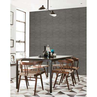 Midcentury Modern Dark Grey Brick Wallpaper