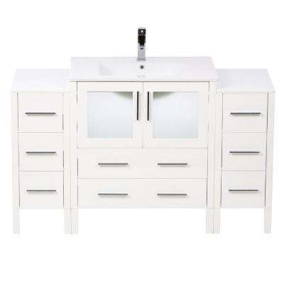 Torino 54 in. Vanity in White with Ceramic Vanity Top in White with White Basin and Mirror