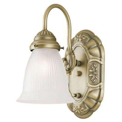 1-Light Oyster Bronze Interior Wall Fixture with On/Off Switch and Frosted Ribbed Glass