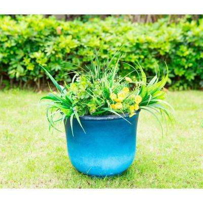 Small 9.8 in. Tall Blue Lightweight Concrete Modern Vibrant Ombre Round Planter