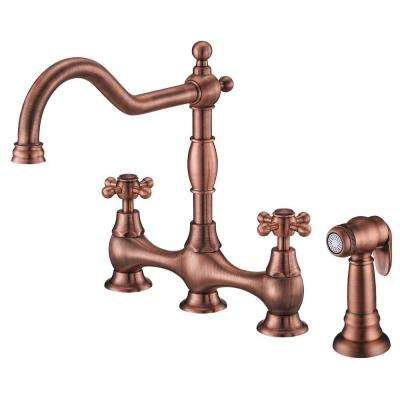 Opulence 2-Handle Bridge Kitchen Faucet with Cross Handles with Spray in Antique Copper