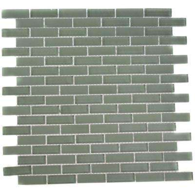 Contempo Seafoam Brick 12 in. x 12 in. x 8 mm Glass Mosaic Floor and Wall Tile
