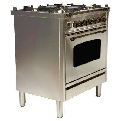 30 in. 3.0 cu. ft. Single Oven Dual Fuel Italian Range True Convection, 5 Burners, LP Gas, Bronze Trim/Stainless Steel