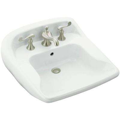 Worthington Wall-Mounted Ceramic Bathroom Sink in White with Overflow Drain