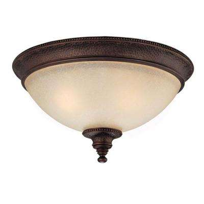 2-Light Burnished Bronze Flush Mount with Mist Scavo Glass Shade