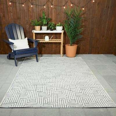 Maze Cream 9 ft. x 12 ft. Global Indoor/Outdoor Area Rug