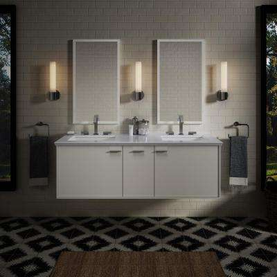Jute 60 in. W Wall-Hung Vanity in Linen White with Marble Vanity Top in Carrara with White Basins