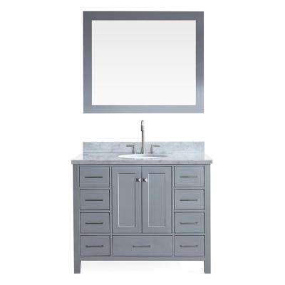 Cambridge 43 in. Vanity in Grey with Marble Vanity Top in Carrara White with White Basin and Mirror