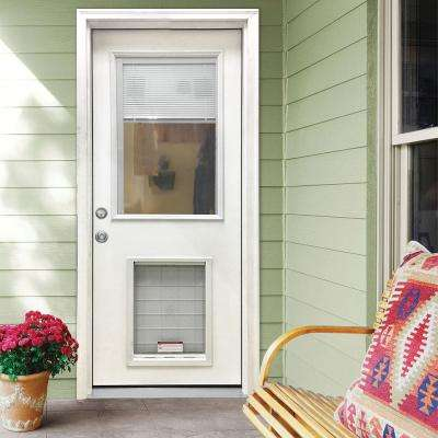 36 in. x 80 in. Classic Clear Mini-Blind RHIS White Primed Fiberglass Prehung Front Door with SL Pet Door