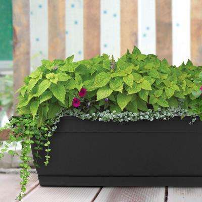 Newbury 7.68 in. x 36 in. Black Poly Window Box with Saucer