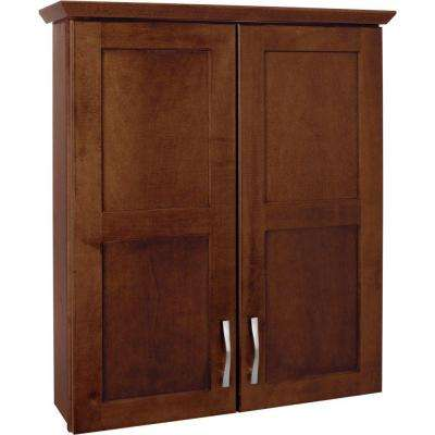 Casual 25 in. W x 29 in. H x 7-1/2 in. D Bathroom Storage Wall Cabinet in Cognac