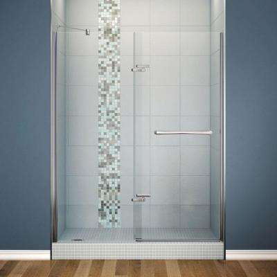 Reveal 59 in. x 71-1/2 in. x 1/2 in. Semi-Framed Pivot Shower Door with 8 mm Clear Tempered Glass in Chrome