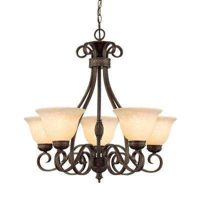 5-Light Bronze/Gold Chandelier with Turinian Scavo Glass