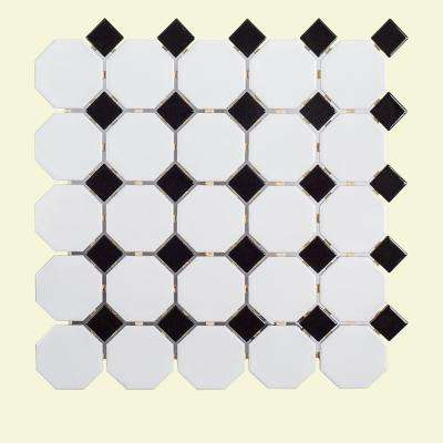 Retro Octagon Black Dot 11-1/2 in. x 11-1/2 in. x 6 mm Porcelain Mosaic Tile