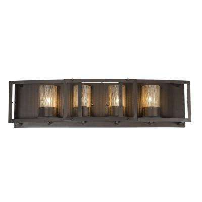 Jackson 4-Light Rustic Bronze Vanity Light with Arched Windowpane Glass