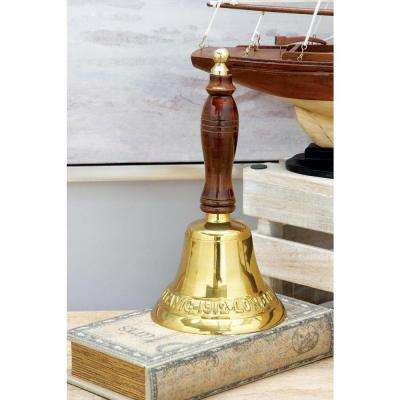 10 in. x 5 in. Classic Brass and Wood Bell