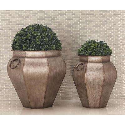 18 in. x 18 in. Rustic Iron Gray Urn-Shaped Planters (Set of 2)