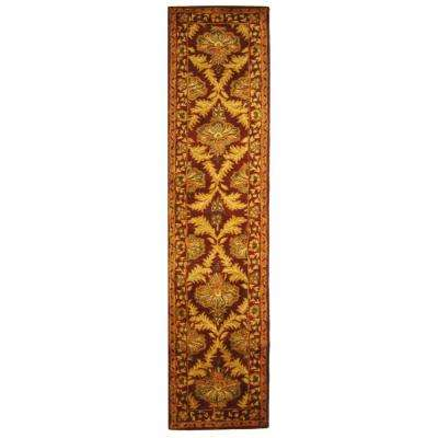 Antiquity Wine/Gold 2 ft. 3 in. x 12 ft. Runner