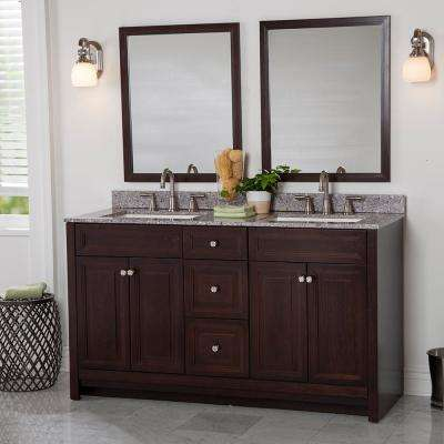 Brinkhill 61 in. W x 22 in. D Bath Vanity in Chocolate with Stone Effect Vanity Top in Mineral Gray with White Sink