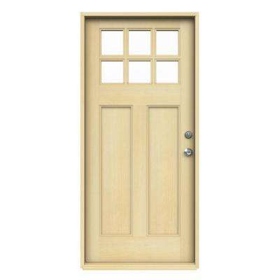 6 Lite Craftsman Unfinished Hemlock Prehung Front Door with Unfinished AuraLast Jamb and Brickmold