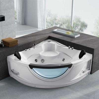 59 in. Acrylic Flatbottom Whirlpool Bathtub in White