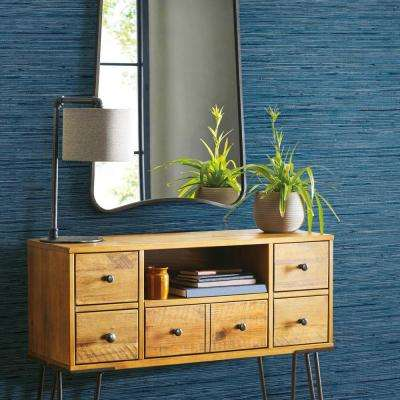 28.18 sq. ft. Grasscloth Blue Peel and Stick Wallpaper