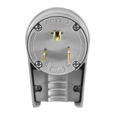 50 Amp 250-Volt 6-50 Industrial Power Plug and Connector - Gray