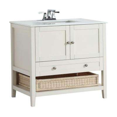 Cape Cod 36 in. W Vanity in Soft White with Quartz Marble Vanity Top in White
