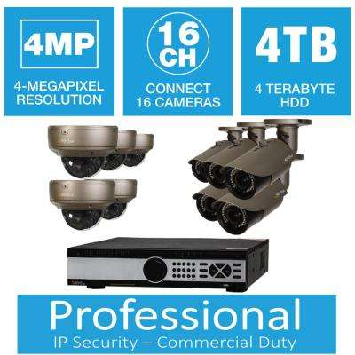 16-Channel 4MP 4TB Network Video Recorder with (5) Bullet Cameras and (5) Dome Cameras
