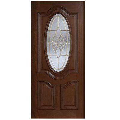 32 in. x 80 in. Mahogany Type 3/4 Oval Glass Prefinished Antique Beveled Brass Solid Wood Front Door Slab