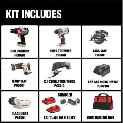 20-Volt MAX Lithium-Ion Cordless Combo Kit (6-Tool) with Free USB Charger and BONUS 20-Volt Oscillating Tool (Tool-Only)