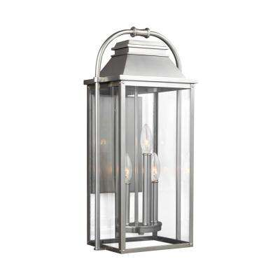 Wellsworth 3-Light Painted Brushed Steel Outdoor Wall Lantern