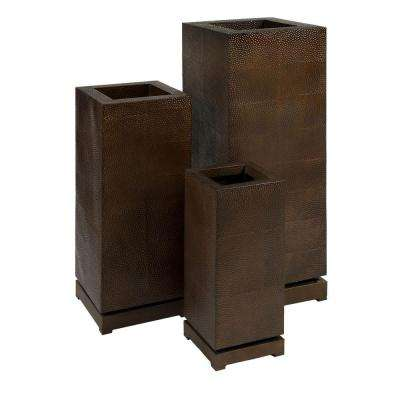 Lenor 23 in. Brown Wrought Iron Planter (Set of 3)
