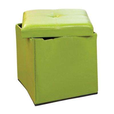 Single Folding Polyurethane Leather Ottoman in Lime