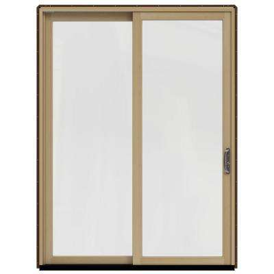 71.25 in. x 95.5 in. W-2500 Dark Chocolate Prehung Left-Hand Sliding 1-Lite Pine Patio Door with Unfinished Interior