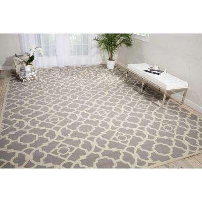 Lovely Lattice Grey 10 ft. x 13 ft. Indoor/Outdoor Area Rug